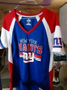 Women's New York Giants Majestic Royal/Red Draft Me Fashion T-Shirt