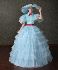 Victorian Gothic Period Princess Skirt Theare Blue cosplay zipper dress gown