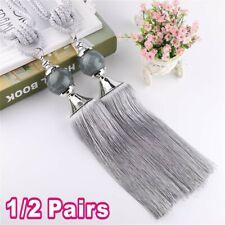 2X Curtain Holdbacks Rope Tie Backs Tassel Tiebacks Beaded Ball Decor Silver UK