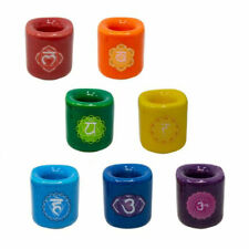 """Seven Chakras Ceramic Candle Holders for 4"""" Mini Spell Chime Candles - Set of 7"""