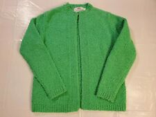 Vtg Susan Bristol Women's M Green Hand Knitted Open Front Sweater Cardigan