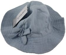 Carters Baby Girl Light Blue Denim Hat Chin Strap Size 0-3 Months  Accessories f77418af358f
