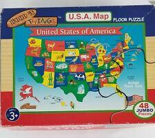 Wood 'N Things U.S.A. Map Floor Puzzle 2 x 3 feet 48 Jumbo Pieces