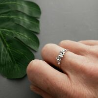 HANDMADE SOLID STERLING SILVER  ORGANIC GRANULATION CLUSTER STACKING RING  925