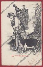 LOMBARDIA COSTUME PASTORELLA - CAPRETTE Cartolina viaggiata  primi '900