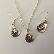 RETRO COWBOY HAT WESTERN EARRINGS NECKLACE SET SILVER PLATED HOOKS GIFT PRESENT