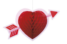 3 x Large Red Hanging Heart Honeycomb Decoration Valentines Day Cupid Heart