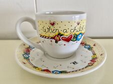 Mary Engelbreit Tea Cup/Saucer Set~A Child is Born~So is Grandmother~Great Cond