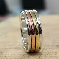 925 Sterling Silver Spinner Ring Wide Band Meditation Statement Jewelry tt901