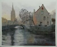 Bridge over river at Bruges Belgium original watercolour painting  Art 15x18