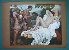 NUDE Greek Woman Earth Gifts Fruits & Vegetables - COLOR Typogravure Print