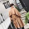 Mens Korean Hot Lapel Collar Belt Trench Coat Loose Jacket Long Parka Overcoats