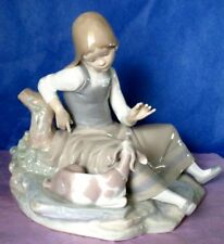 Lladro GIRL WITH GOAT Large Porcelain Vintage Figurine MINT