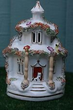 MID 19thC STAFFORDSHIRE COTTAGE PASTILLE BURNER WITH SEATED DOG & PIGEON c1850s