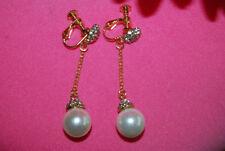 Screw Back (non-pierced) Pearl Drop/Dangle Costume Earrings