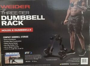 NEW Weider Three Tier 6 Six Dumbbell Weight Bar Utility Rack Gym Workout Home