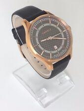 Esprit Herren Uhr schwarz rosé gold Leder Datum ES108721003