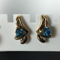 Fabulous Pair 14K Yellow Gold Trilliant Blue Topaz & Diamond Earrings Stunning!