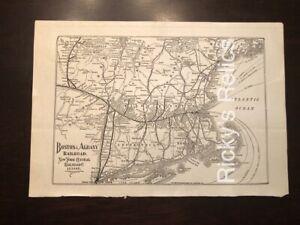 Antique 1927 Boston & Albany Railroad-New York Cental Map 7 1/2  x 11 B&A NYC