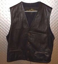 20561 Mens Black Leather Motorcycle VEST ~ M Medium ~ Structure ~ Zip Pockets