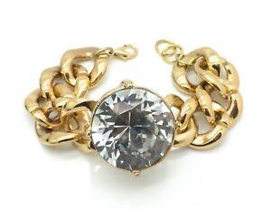 New Oversized Crystal Bling Women Bracelets Gold Plated Links