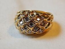 """JUDITH LEIBER  SOLID 18K YELLOW GOLD/DIAMONDS """"DRAGON SCALE"""" BOMBE RING"""