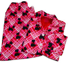 Nick & Nora Girls Pajama Set Scotty Dogs Pink Long Sleeve Sleepwear S 6/6X New