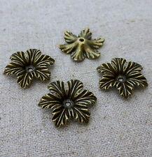 Bronce Antiguo floral del grano Cap-Paquete de 10 piezas