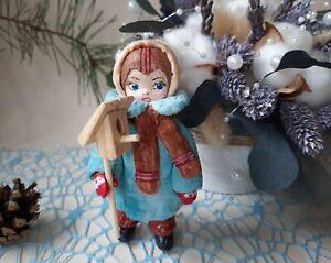 Spun Cotton Ornament Doll. A Kid with a Birdhouse. Handmade Christmas Tree Toy