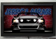 LED LIGHTED MUSTANG GARAGE SIGN  -PERSONALIZED NEON STYLE