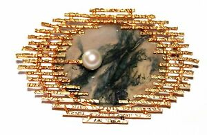 Vintage 9 ct yellow gold moss agate and pearl brooch designer style German