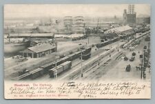 Harbour & Freight Train Yard MONTREAL Rare Antique Railroad UDB Quebec—Dufresne