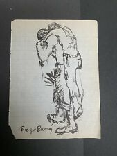 Diego Rivera Sketch Drawing on Paper  Signed