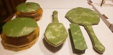 Vintage green Celluloid / Bakelite Vanity Set Brush Mirror box & Containers
