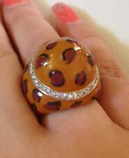 Sterling Silver & Enamel Party Ring Size 7 Animal Print