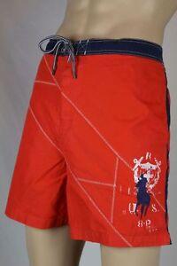 Ralph Lauren Orange Swim Shorts Trunks Navy Blue Big Pony NWT 2XB