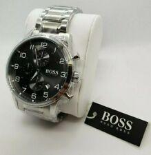 Mens Hugo Boss Aeroliner Chronograph Watch - Black Grey - HB1513181 - UK SELLER