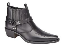 Botas al Tobillo Para Hombre Slip On Western Cowboy oculto Escudete Zapatos Talla
