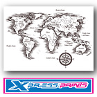 World Map Atlas Geography Black & White Poster Print A4 A3 Size BUY 2 GET 1 FREE
