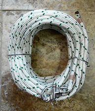 """3/8"""" x 115 ft. Dacron/Polyester Halyard,Spliced in S/S Snap Shackle Green Trace"""