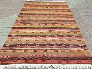"""Striped Rug, Vintage Turkish Kilim, Carpet, Area Rugs, Large Rug, Kelim 69""""x112"""""""