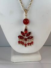 "Hand Made 28"" Gold Tone Chain Necklace With Red Crystals And Red Beads"