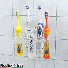 Wall Mounted Electric Toothbrush Holder 4x Toothbrush Stand In Clear