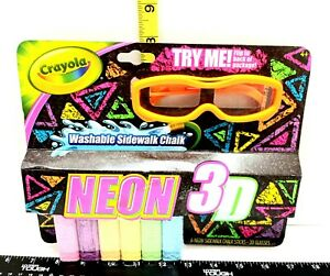 Crayola 3-D Neon Washable Sidewalk Chalk Kids Outdoor Art New