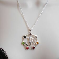 Bohemian Yoga Energy OHM AUM OM 7 Chakra Pendant on 18 Inch Chain C71