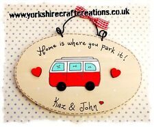 PERSONALISED Hand painted Camper Van Sign Plaque Gift Volkswagen Inspired - RED