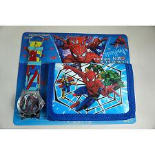 NEWEST Spiderman Children's Wrist Watch & Purse Wallet Set For Kids Boys Girls