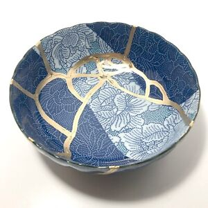 "NEW Kintsugi Japanese Porcelain Indigo Blue Bowl w Gold paint 6.5""dia x 2.5""deep"