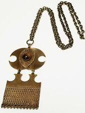 Vintage KALEVALA KORU KK Bronze & Tiger's Eye MODERIST Pendant Necklace FINLAND