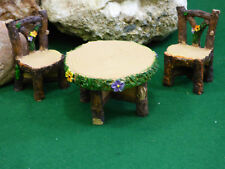 Fairy Garden Miniature Doll House Wood Look 3pc Set Table and Chairs Flowers NEW